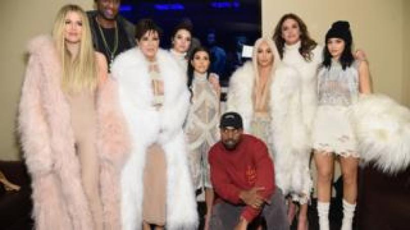 From left to right: Khloe, Lamar Odom, Kris Jenner, Kendall, Kourtney, Kanye, Kim, Caitlin and Kylie atr Kanye West Yeezy Season 3 on 11 February 2016
