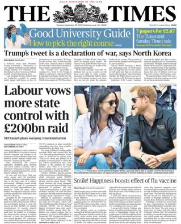 The Times front - 26/9/17