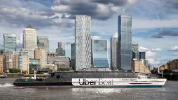 Uber boat/ thames clipper stock photo