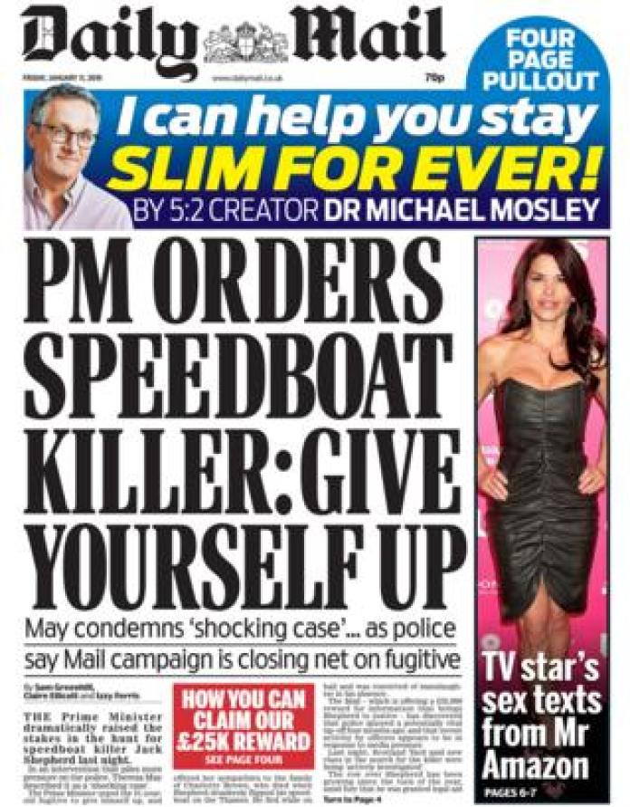 Daily Mail front page, 11/1/19