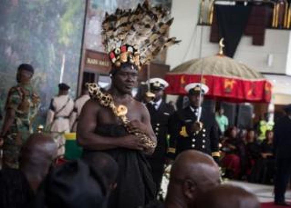 Ashanti leaders join local chiefs, politicians and extended families to thank Kofi Annan, the Ghanaian diplomat and former secretary-general of the United Nations, who died on August 18, at the age of 80 after a brief illness, at the entrance of the Accra International Conference Center in Accra on September 12, 2018