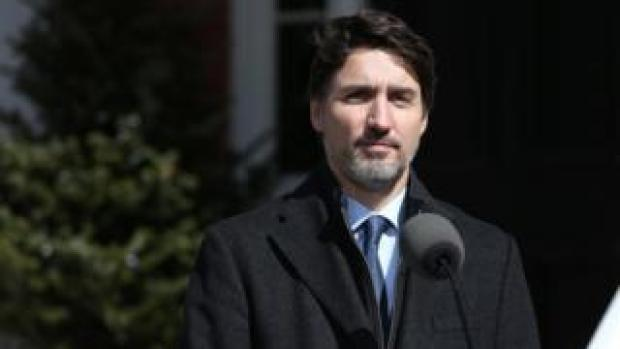 Prime Minister Justin Trudeau speaks during a news conference from his residence on March 16