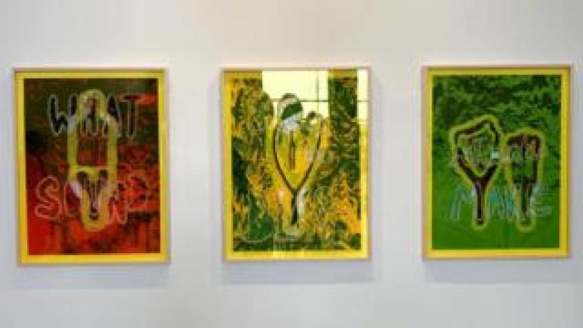 Three prints depicting slingshots