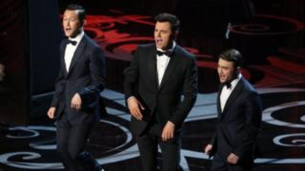 Joseph Gordon-Levitt, Seth MacFarlane and Daniel Radcliffe sing on stage at the Oscars