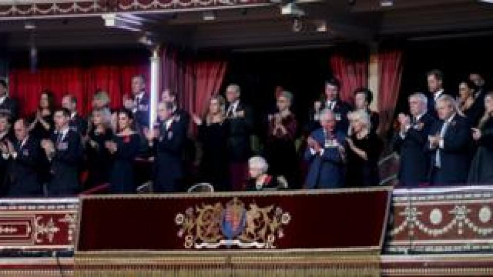 The Queen joined by other members of the Royal Family