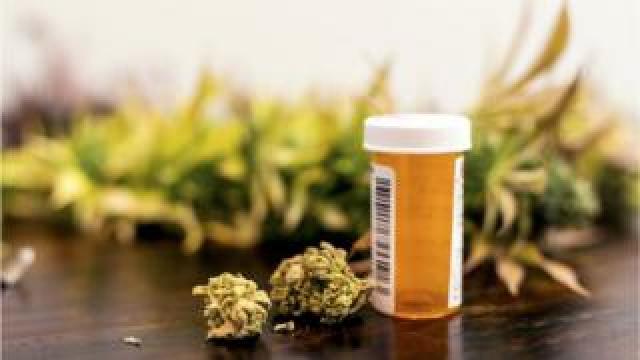 file picture of cannabis and prescription bottle