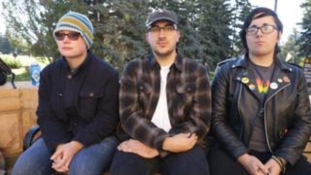 (L-R) University of Wyoming LGBT students Jess Fahlsing, Carlos Gonzales and Rihanna Kelver
