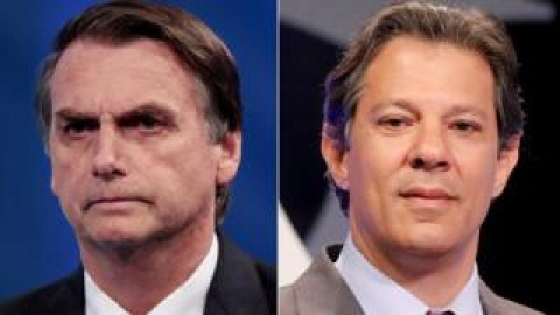 Composite photo of Jair Bolsonaro (left) and Fernando Haddad (right)