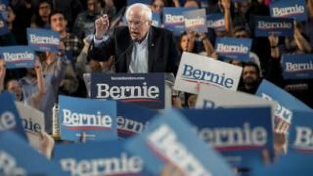 Bernie Sanders at a rally in Houston, Texas