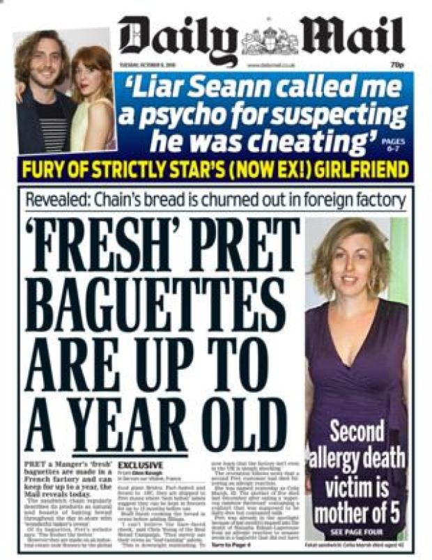 Daily Mail front page - 09/10/18