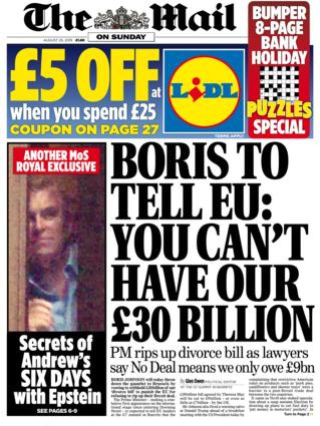 Mail on Sunday front page, 25/8/19