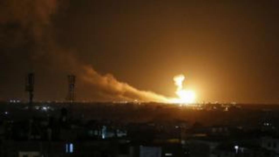 A ball of fire is seen following an Israel airstrike at Rafah in the southern Gaza Strip on 23 February 2020