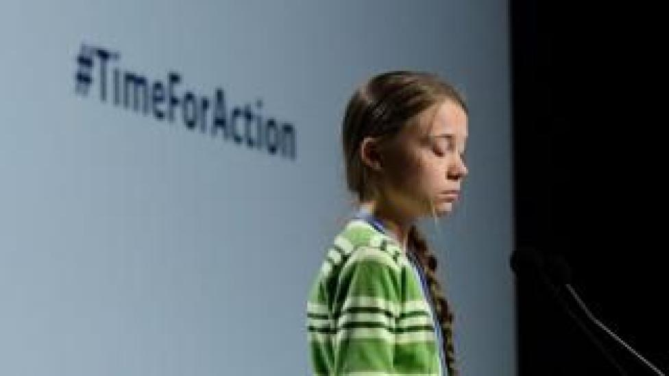 Swedish climate activist Greta Thunberg gives a speech during a high-level event on climate emergency hosted by the Chilean presidency during the UN Climate Change Conference COP25 at the