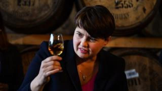 Ruth Davidson holding whisky
