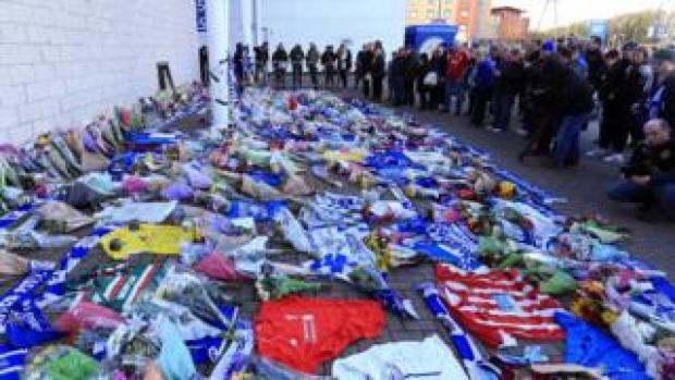 Tributes at the King Power Stadium