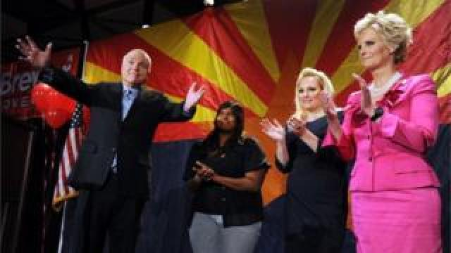 Mrs McCain, right, with her family at a 2010 Republican event
