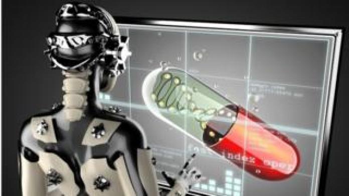 Robotertyp Frau und Bildschirm