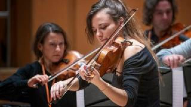 Violinist Nicola Benedetti performs with the Benedetti Foundation tutors and ambassadors for 350 young musicians at the first Benedetti Sessions at the Royal Concert Hall, Glasgow.