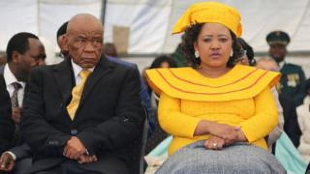 Newly appointed Lesotho prime Minister Thomas Thabane (L), leader of the All Basotho Convention (ABC) political party, his wife 'Ma Isaiah Ramoholi Thabane