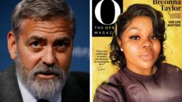 George Clooney and magazine cover portrait of Breonna Taylor