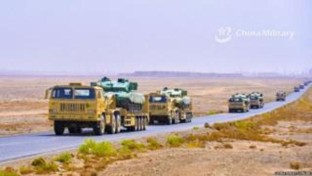 Chinese military vehicles during a recent drill