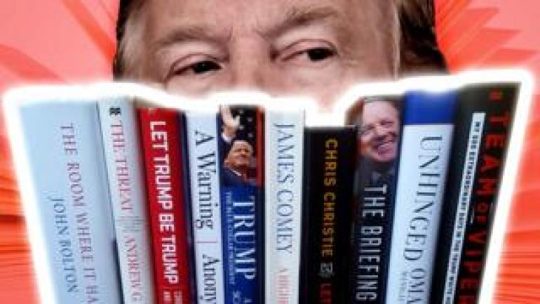 A composite showing President Trump and some of the books written about him