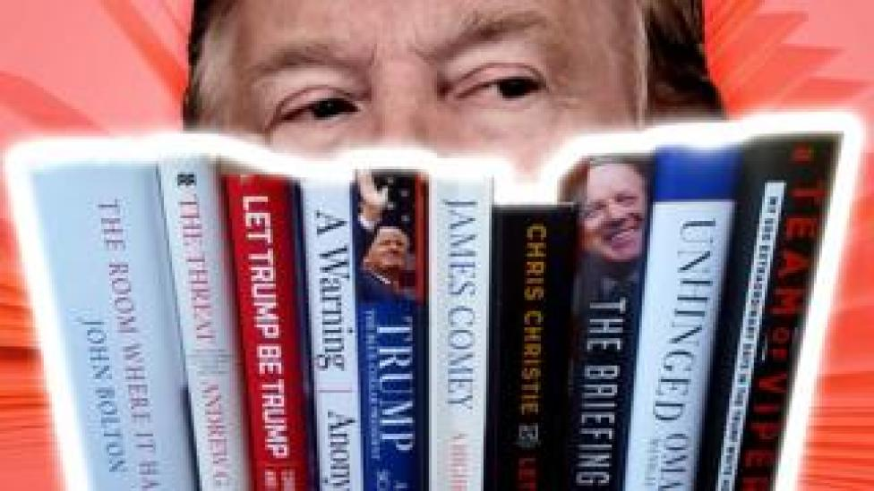 trump A composite showing President Trump and some of the books written about him