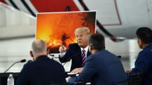 US President Trump speaks during a briefing on wildfires with local and federal fire and emergency officials in Sacramento