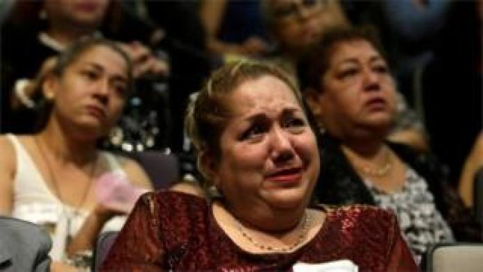 Nation breaking news Relative of five youths killed in 2016 reacts during a public apology by the Veracruz state government, in Mexico City, Mexico March 4, 2019