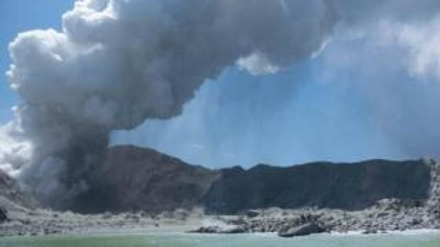 Plume of smoke from volcano