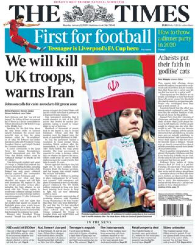 The Times front page 6 January 2020