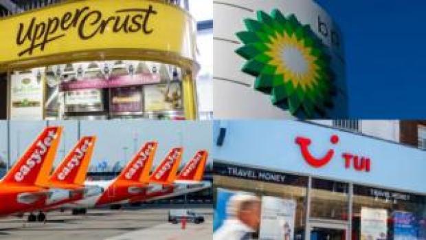 Logos of Upper Crust, Easyjet, BP and Tui