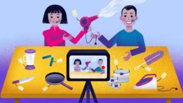 illustration of live-streaming sales session