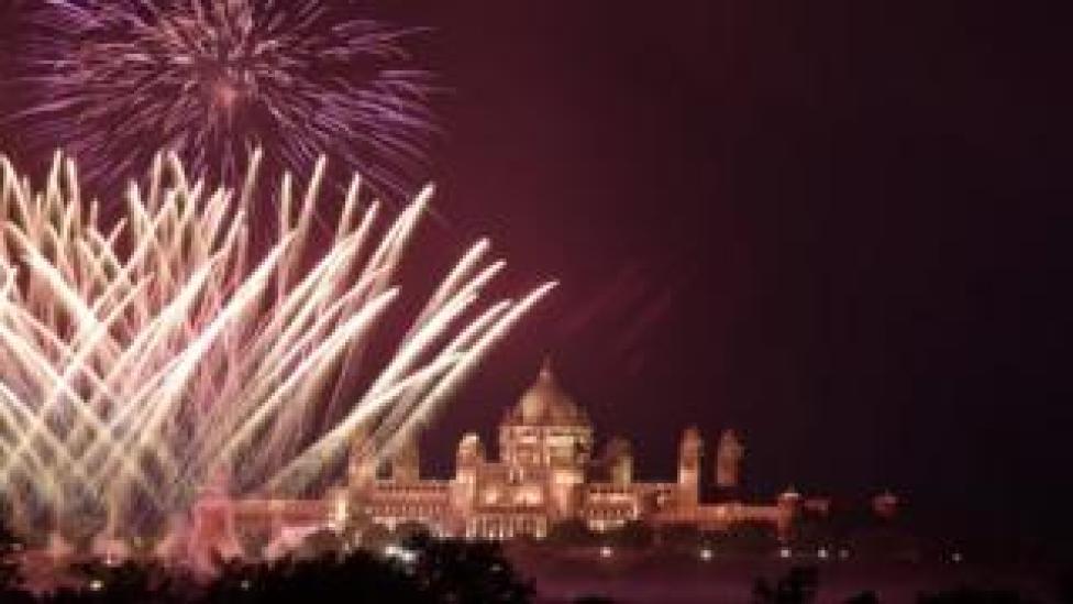 Fireworks over Jodhpur celebrating the wedding of Priyanka Chopra and Nick Jonas, on 1 December 2018