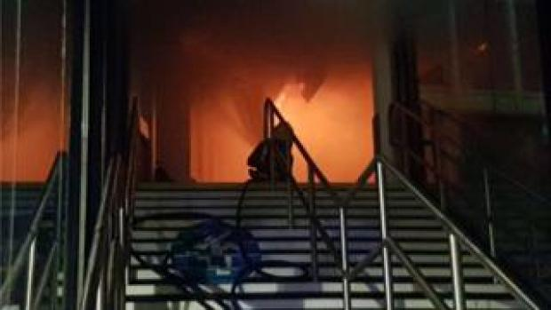 Fire glow inside the building