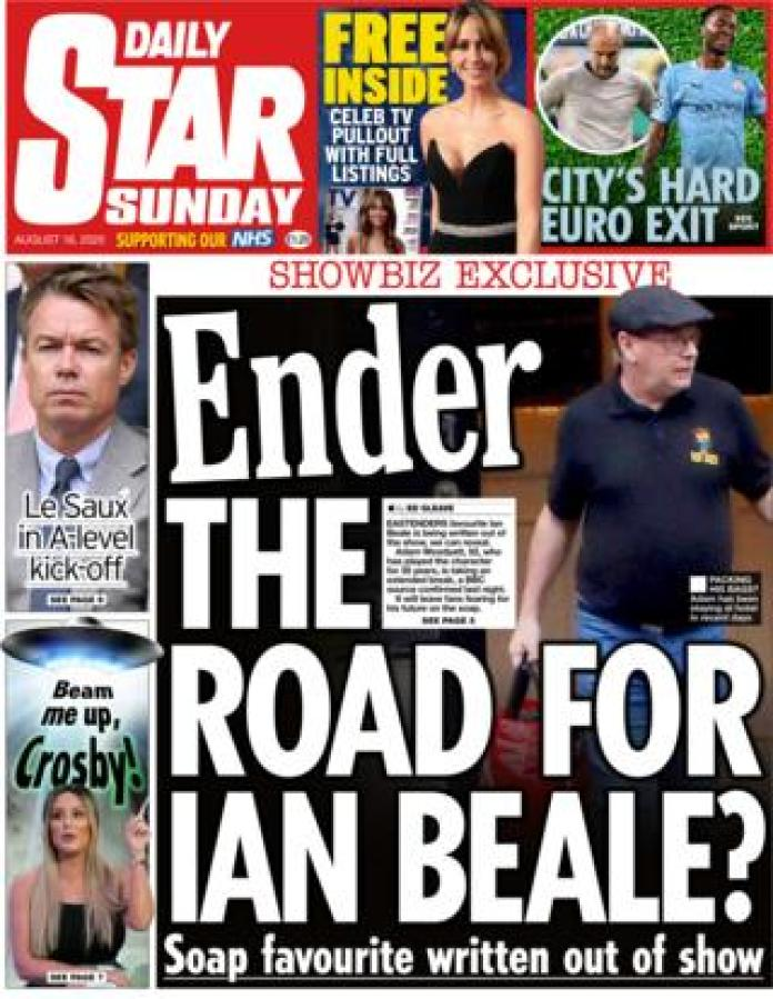 The front page of the Daily Star Sunday August 16, 2020