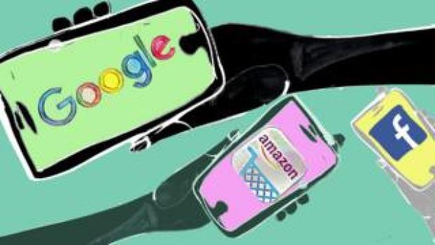 Google, Facebook and Amazon illustration