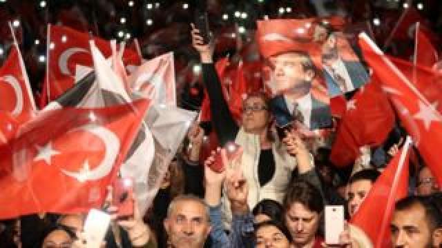 Supporters of new mayor Ekrem Imamoglu in Istanbul