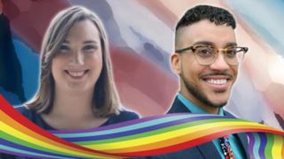 trump Sarah McBride and Phillipe Cunningham