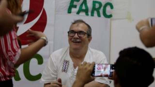President of the Common Alternative Revolutionary Force (Farc) Rodrigo Londono speaks during an interview in Cartagena, Colombia, 10 December 2019