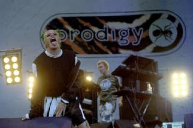 Keith Flint of The Prodigy performing on stage at Knebworth, 1996