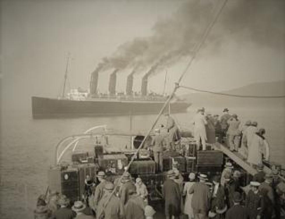 Mauretania tendering at Plymouth.