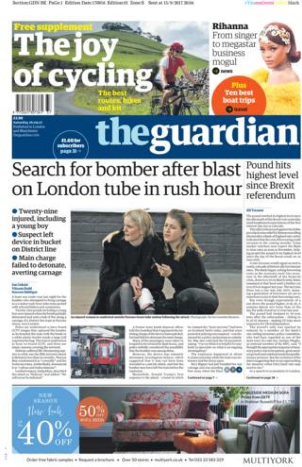 The Guardian front page 16/09/2017