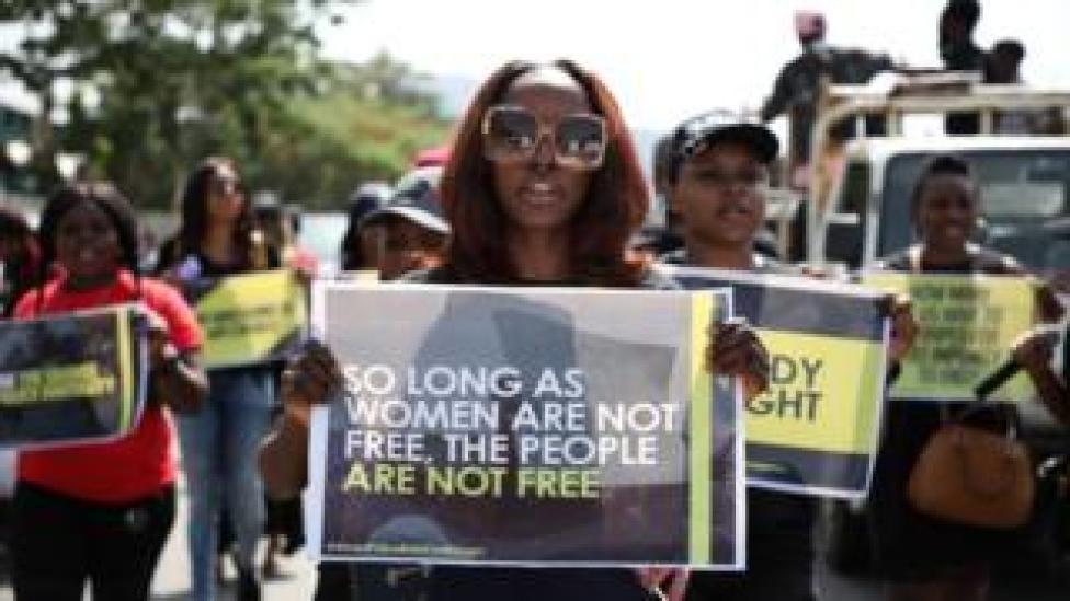 Women protesting against gender-based discrimination - Friday 10 May