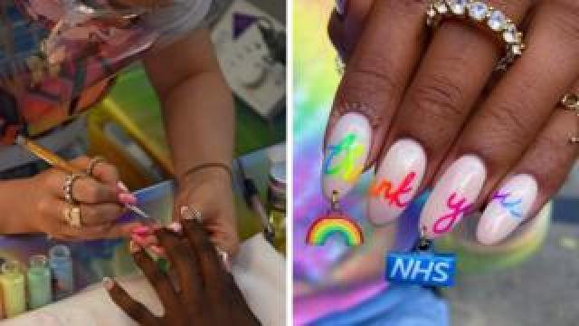 Anouska Anastasia works on a clients nails at NUKA Nails, West London and the charm she made in support of the NHS.