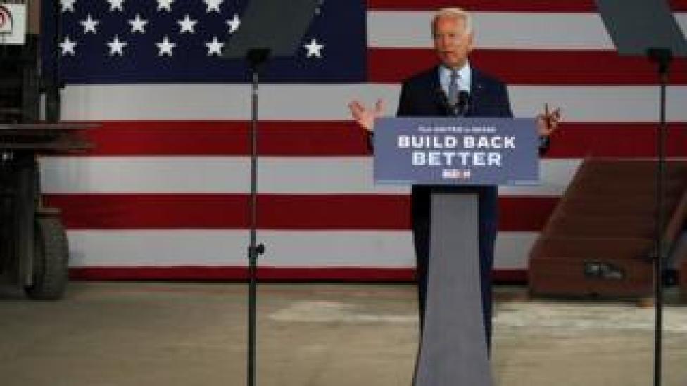 trump The presumptive Democratic presidential nominee Joe Biden speaks at McGregor Industries in Dunmore, Pennsylvania