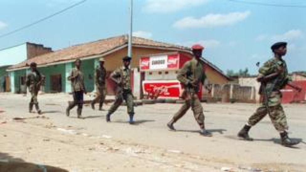 RPF fighters march into Kigali