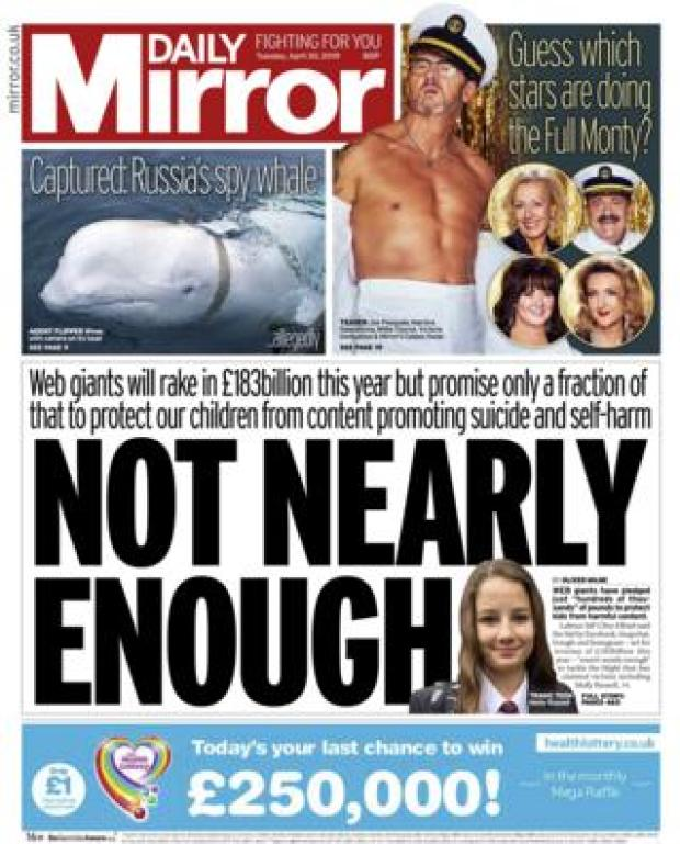 Daily Mirror front page - 30/04/19