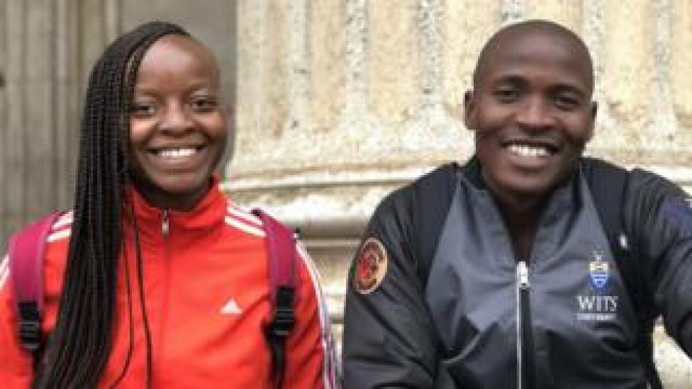 Kgomotso Malatjie (L) and Vuyo Ndata, students at Wits University in Johannesburg