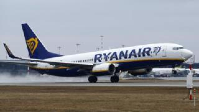 A Ryanair plane on the runway